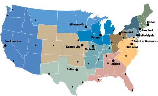Regional map of the Federal Reserve Districts and the Board of Governors
